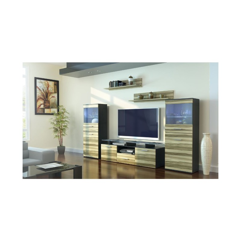 ensemble meuble tv bois maison design. Black Bedroom Furniture Sets. Home Design Ideas