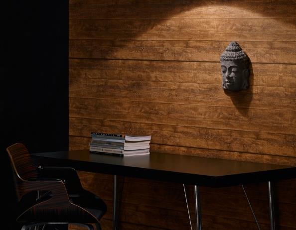 Le trompe l 39 oeil sous forme de papier peint - Papier peint trompe l oeil effet bois ...