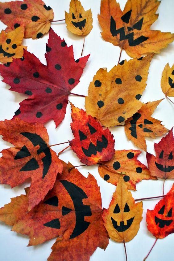décorer feuilles halloween